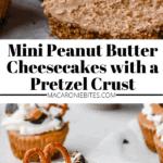 Mini Peanut Butter Cheesecakes with a Pretzel Crust